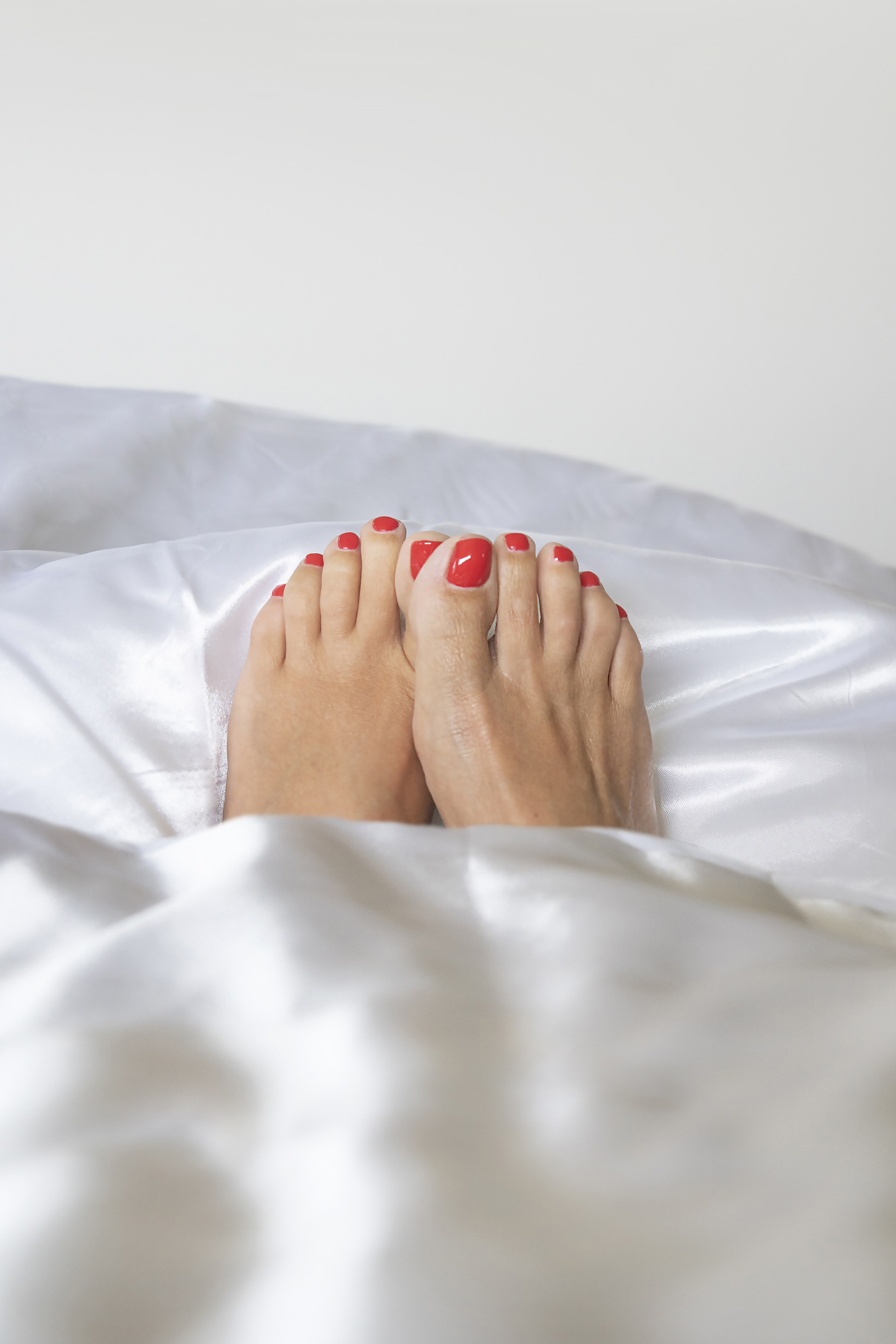 17. Red painted toe nails